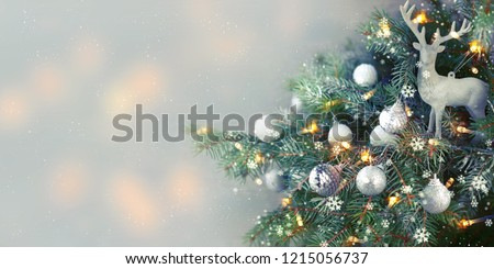 Closeup of Christmas-tree background - Shutterstock ID 1215056737