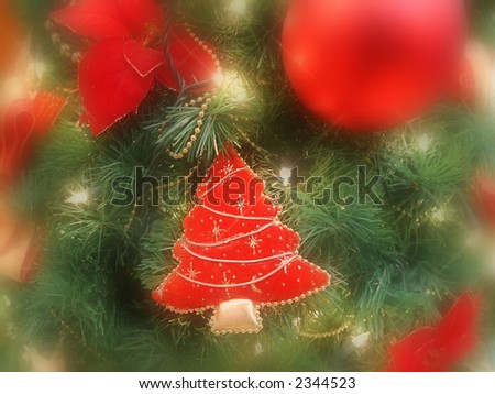 Closeup of christmas tree with christmas decorations - selective focus