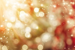 Closeup of Christmas-tree with decorations items in light and bokeh background with light flare effect christmas and newyear festive concept