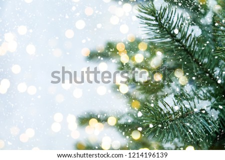 Closeup of Christmas tree with light, snow flake. Christmas and New Year holiday background. vintage color tone. #1214196139