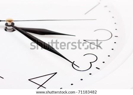 Closeup of clock face. Quarter past two.