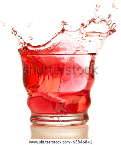 closeup of cocktail splash on a white background
