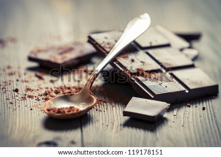 Closeup of Cocoa Powder and Dark Chocolate