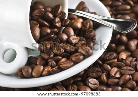 Closeup of coffee beans in a cup
