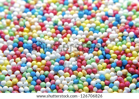 Closeup of colored cake sprinkles. Good for background.