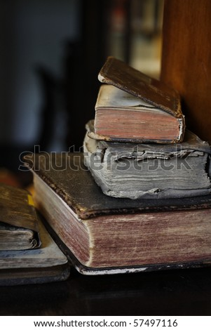 Closeup of colorful antique books.