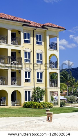 closeup of colorful buildings in a caribbean luxury resort
