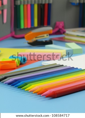 Closeup of colorful children's palette of crayons