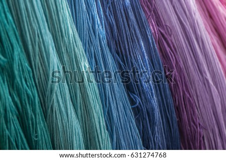 closeup of colorful Cotton threads in textile fabric ストックフォト ©