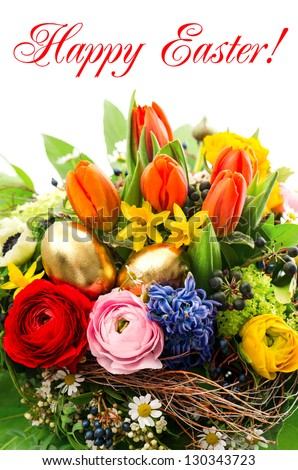 closeup of colorful easter bouquet with golden eggs decoration and sample text Happy Easter!