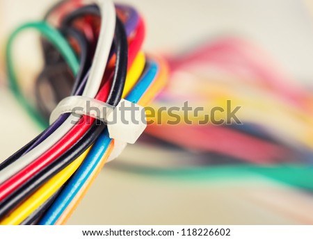 Closeup of colorful electrical cables