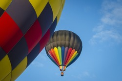 Closeup of colorful fabric of hot air balloons