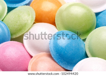 Closeup of colorful flying saucer sherbet sweets. Rice paper encloses sherbet powder.