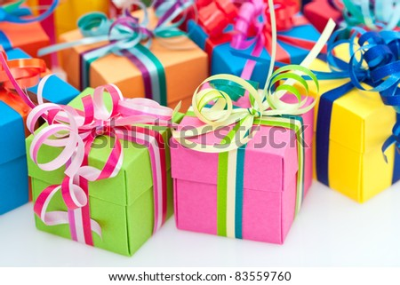 Closeup of colorful gifts box on white background