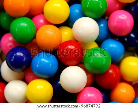 Closeup of colorful gumballs