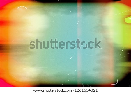 Closeup of colorful old film / movie light leaks texture background, top view (High-resolution 2D CG rendering illustration)