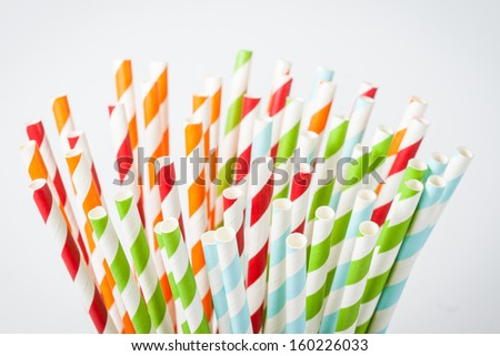 Closeup of colorful paper straws