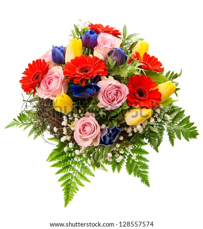 closeup of colorful spring flowers bouquet isolated on white background. pink roses, red gerbera, yellow tulips, blue anemone