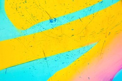 Closeup of colorful urban wall texture. Modern pattern for wallpaper or mockup presentation design. Creative urban city background. Abstract open composition.