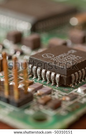 Closeup of computer electric circuit board with components
