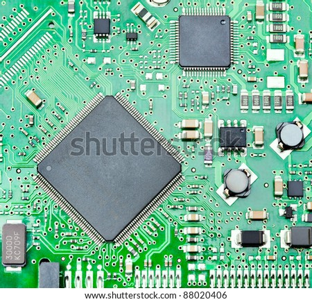 Closeup of computer micro circuit board