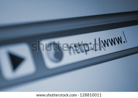 Closeup of Computer Screen With Address Bar of Web Browser #128810011