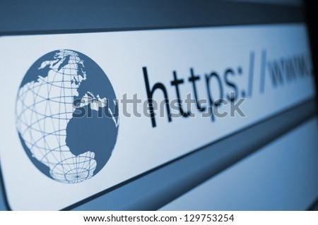 Closeup of Computer Screen With https Address Bar of Web Browser