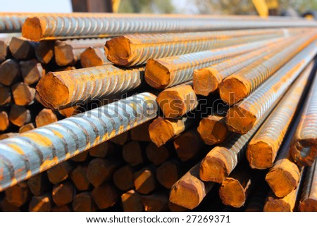 Closeup of concrete reinforcement steel rods in warehouse