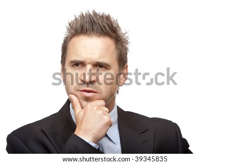 closeup of contemplative businessman on white background