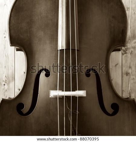 Closeup of contrabass - stock photo