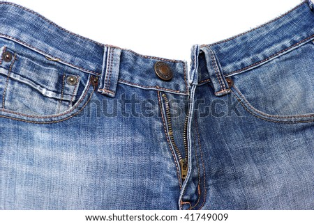 Closeup of cool blue jeans
