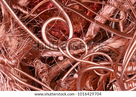 Closeup of copper wire raw materials #1016429704