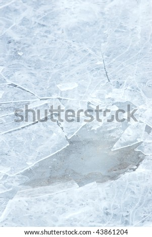 Closeup of cracked ice texture with selective focus