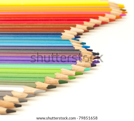 closeup of crayons on a white background