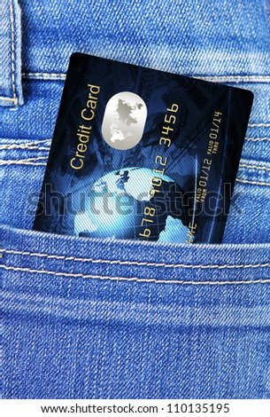 closeup of credit card in jeans trousers pocket