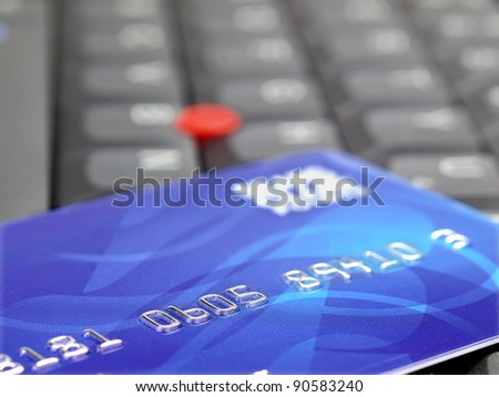 Closeup of credit card on computer keyboard