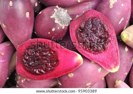 Closeup of cut halves of cactus pears in pile