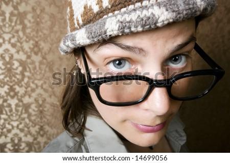 Closeup of Cute Nerdy Woman in a Knit Cap