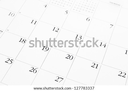 Closeup of dates on calendar page