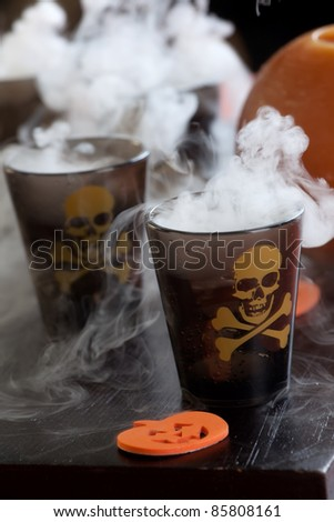 Closeup of Deadly Shot, vodka and hot pepper - Halloween drinks series