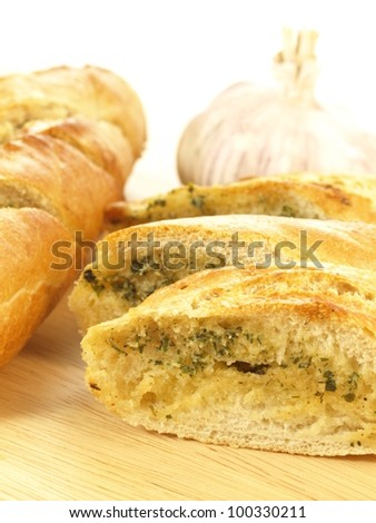 Closeup of delicious baguette with garlic