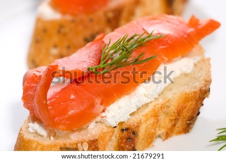 Closeup of delicious canape with smoked salmon cream for Smoked salmon cream cheese canape