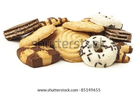 closeup of delicious chocolate cookies on white background