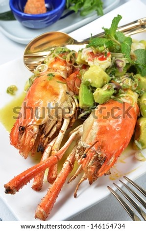 Closeup of delicious grilled lobster