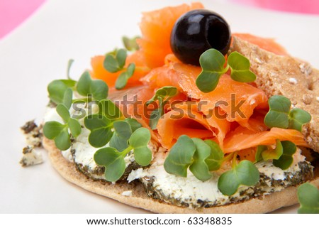 Closeup of delicious open-face sandwich with smoked salmon, goat cheese and daikon sprouts.