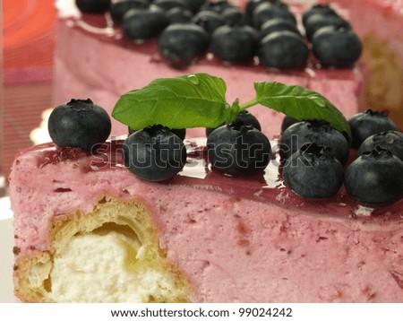 Closeup of delicious sweet raspberry cake