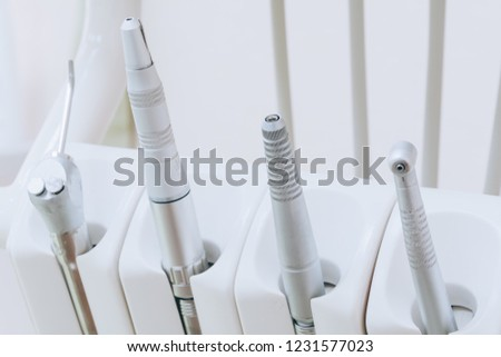 Closeup of dental drills in dentists office. Medical equipment and stomatology concept. Dental office.