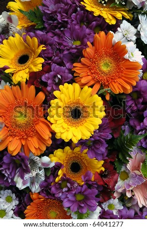 Closeup of different flower bouquet as background