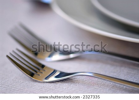 Closeup of dinner place setting shallow dof