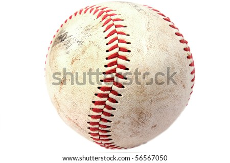 Closeup of dirty baseball